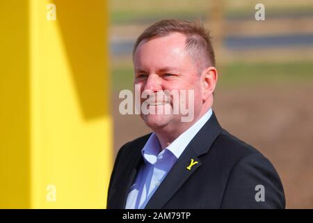 Welcome To Yorkshire CEO Sir Gary Verity, at the installation of the Welcome To Yorkshire 'Y' Sculpture  located at Parrots Corner in Doncaster. - Stock Photo