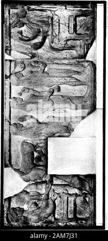 Marbles and bronzes; fifty plates from selected subjects in the Department of Greek and Roman Antiquities . Fig. 6.—The Portland Vase (Plate 50). The Portland Vase. A glass vase, in layers of dark blue andopaque white, the white layer being carved in relief, in themanner of a cameo. The subjects are doubtful, but appear tobe scenes from the story of Peleus and Thetis. On the sideshown in the plate Peleus watches Thetis asleep, in the presenceof Aphrodite. The work is of the 1st century a.d. The vase was found (according to a tradition of questionablevalue) in a marble sarcophagus in the Monte