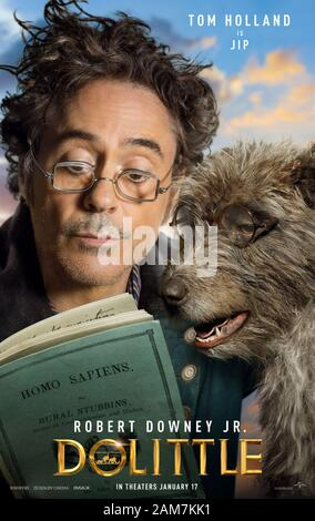 RELEASE DATE: January 17, 2020 TITLE: Doolittle STUDIO: Universal Pictures DIRECTOR: Stephen Gaghan PLOT: A physician discovers that he can talk to animals. STARRING: ROBERT DOWNEY JR. as Dr. John Dolittle poster art. (Credit Image: © Universal Pictures/Entertainment Pictures) - Stock Photo