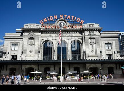 The historic Union Station in downtown Denver, Colorado, is a busy transportation hub offering train, Amtrak, light rail and bus service - Stock Photo