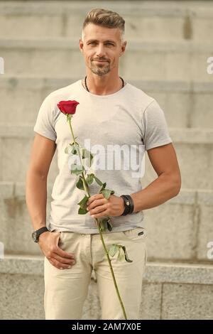 Happy womens day to all the lovely women. Bearded man holding womens day flower in spring. Handsome man with red rose for womens day celebrating. March 8 or international womens holiday. - Stock Photo