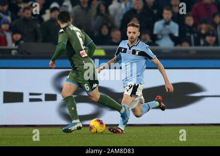 Rome, Italy. 11th Jan, 2020. Manuel Lazzari (Lazio) in action during the Serie A TIM match between SS Lazio and SSC Napoli at Stadio Olimpico on January 11, 2020 in Rome, Italy. (Photo by Giuseppe Fama/Pacific Press) Credit: Pacific Press Agency/Alamy Live News - Stock Photo
