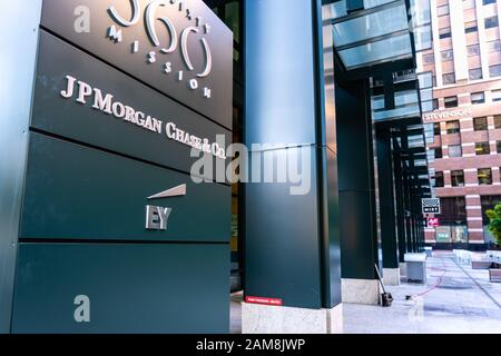 Dec 17, 2019 San Francisco / CA / USA - JP Morgan Chase & Co. and EY offices in South Of Market District; - Stock Photo