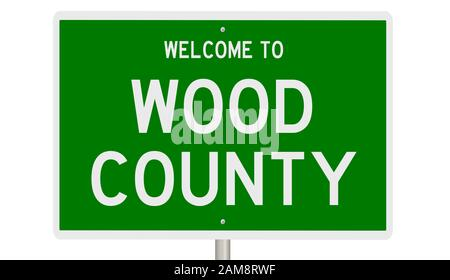 Rendering of a green 3d highway sign for Wood County - Stock Photo