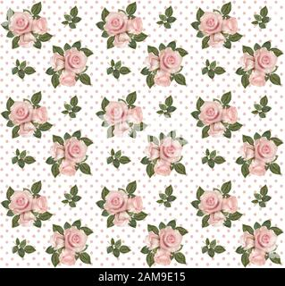 Seamless pattern with roses on polka dotted background - Stock Photo