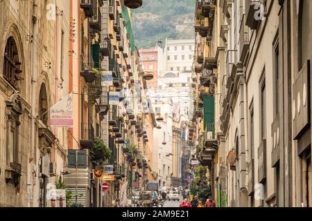 NAPLES, ITALY - JANUARY 4, 2020: tourists visiting Spanish Quarters - Stock Photo