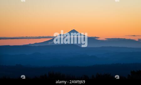 Magnificent Mount Taranaki at Sunset, viewed from Mount Ruapehu, New Zealand - Stock Photo