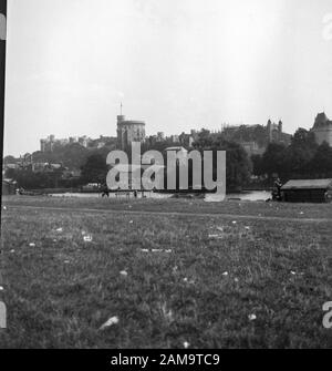 Archive image circa 1925 of Windsor Castle taken from The Brocas, scanned from the negative