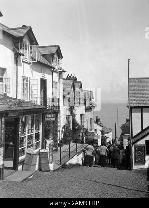 Archive image circa 1920s of Clovelly High Street, Devon, UK. Scanned from original negative - Stock Photo