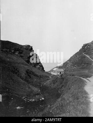 Archive image of Tintagel, Cornwall, circa 1920s. Scanned from the original negative. - Stock Photo