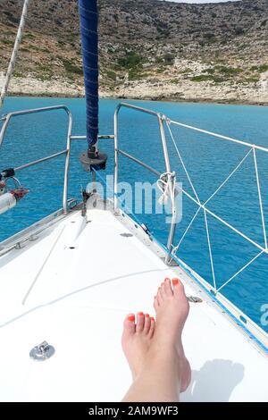 Sunbathing on a yacht,  Gramvousa Island, Crete - Stock Photo