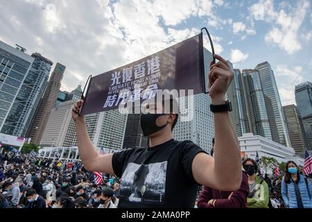 January 12 2020 Central Hong Kong. Karma_to_Commies_Rally - Stock Photo