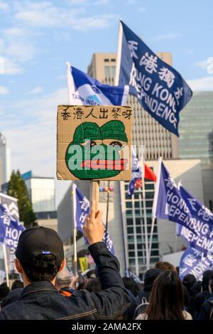January 12 2020 Central Hong Kong. Karma_to_Commies_Rally - Stock Photo