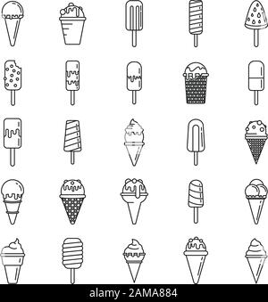 Ice cream cone icons set. Outline set of ice cream cone vector icons for web design isolated on white background - Stock Photo
