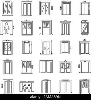 Office elevator icons set. Outline set of office elevator vector icons for web design isolated on white background - Stock Photo