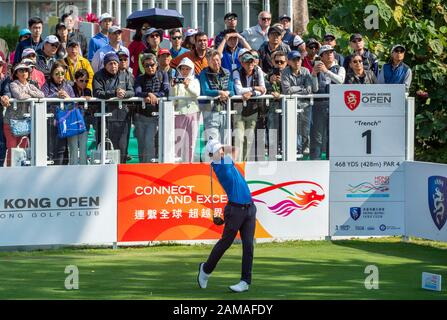 Fanling, Hong Kong, China. 12th Jan 2020.Hong Kong Open Golf Final Round. Wade Ormsby of Australia leads the field. On the 1st tee. Credit: HKPhotoNews/Alamy Live News - Stock Photo
