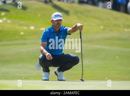 Fanling, Hong Kong, China. 12th Jan 2020.Hong Kong Open Golf Final Round. Wade Ormsby of Australia leads the field. On the 3rd green. Credit: HKPhotoNews/Alamy Live News - Stock Photo