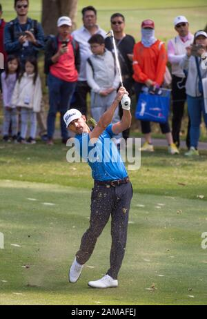 Fanling, Hong Kong, China. 12th Jan 2020.Hong Kong Open Golf Final Round. Wade Ormsby of Australia leads the field. On the 4th fairway. Credit: HKPhotoNews/Alamy Live News - Stock Photo