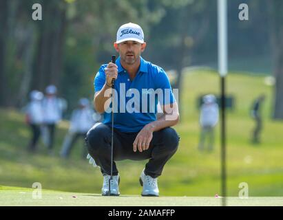 Fanling, Hong Kong, China. 12th Jan 2020.Hong Kong Open Golf Final Round. Wade Ormsby of Australia leads the field. On the 6th green. Credit: HKPhotoNews/Alamy Live News - Stock Photo