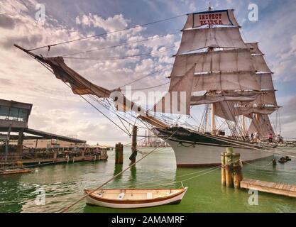Historic tall ship Elissa moored at Texas Seaport Museum in Galveston, Texas, USA - Stock Photo