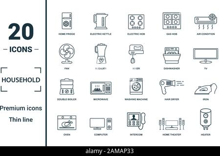 Household icon set. Include creative elements home fridge, electric hob, fan, dishwasher, double boiler icons. Can be used for report, presentation - Stock Photo