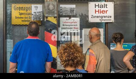 traenenplalast history museum, visitors in front of showcase - Stock Photo