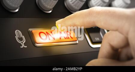 Finger pressing a button to activate an on air sign. Composite image between a hand photography and a 3D background. - Stock Photo