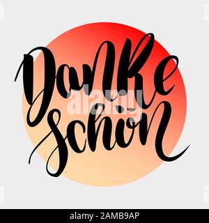 Danke schoen. Thank you in german.  hand drawn brush lettering on colorful gradient isolated on grey background. Modern handlettering postcard for pri - Stock Photo