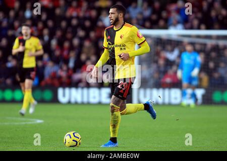 Bournemouth, UK. 12th Jan, 2020. Etienne Capoue of Watford In action. Premier League match, AFC Bournemouth v Watford at the Vitality Stadium in Bournemouth, Dorset on Sunday 12th January 2020. this image may only be used for Editorial purposes. Editorial use only, license required for commercial use. No use in betting, games or a single club/league/player publications. pic by Steffan Bowen/ Credit: Andrew Orchard sports photography/Alamy Live News