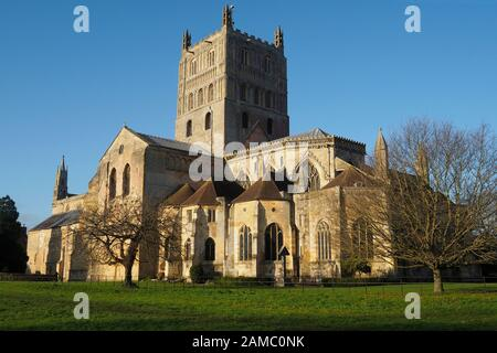 A view of Tewkesbury Abbey in Gloucestershire England UK - Stock Photo
