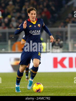 Rome, Italy, 12th January, 2020. Roma s Nicolo Zaniolo in action during the Serie A soccer match between Roma and Juventus at the Olympic Stadium. Credit Riccardo De Luca - UPDATE IMAGES / Alamy Live News - Stock Photo