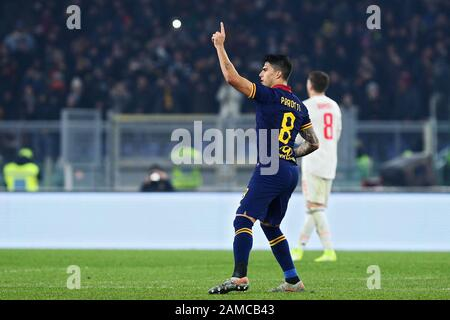 Rome, Italy. 12th Jan 2020. Diego Perotti of Roma celebrates after scoring 1-2 goal by penalty during the Italian championship Serie A football match between AS Roma and Juventus on January 12, 2020 at Stadio Olimpico in Rome, Italy - Photo Federico Proietti/ESPA-Imaes Credit: European Sports Photographic Agency/Alamy Live News - Stock Photo