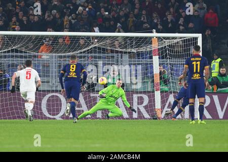 Rome, Italy. 12th Jan 2020. Diego Perotti of Roma scores 1-2 goal by penalty during the Italian championship Serie A football match between AS Roma and Juventus on January 12, 2020 at Stadio Olimpico in Rome, Italy - Photo Federico Proietti/ESPA-Imaes Credit: European Sports Photographic Agency/Alamy Live News - Stock Photo