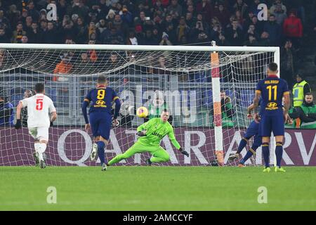 Diego Perotti of Roma scores 1-2 goal by penalty during the Italian championship Serie A football match between AS Roma and Juventus on January 12, 2020 at Stadio Olimpico in Rome, Italy - Photo Federico Proietti/ESPA-Imaes - Stock Photo