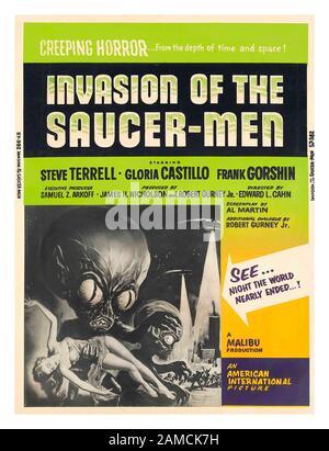 INVASION OF THE SAUCER-MEN Vintage Horror 1950's Movie Film Poster, with Steve Terrell, Gloria Castillo, Frank Gorshin, 1957, by artist Albert Kallis - Stock Photo