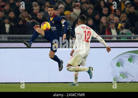 Rome, Italy. 12th Jan, 2020. Alessandro Florenzi (Roma) in action during the Serie A match between AS Roma and Juventus FC at Stadio Olimpico on January 12, 2020 in Rome, Italy. Juventus beat Roma by 2-1 for the 19th round of Italian Championship (Photo by Giuseppe Fama/Pacific Press) Credit: Pacific Press Agency/Alamy Live News - Stock Photo