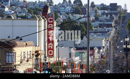 Castro Theater marquee, historic movie palace in the Castro District. Gay neighborhood and LGBT tourist destination in San Francisco, California. - Stock Photo