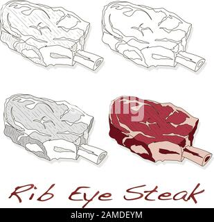 Steak illustration set. Vector images of steaks in different grafic styles, isolated on white background - Stock Photo