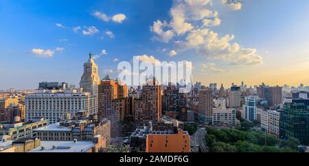 New York USA - July 29, 2019: Aerial panorama of Union Square Park, iconic skyline and skyscrapers in Lower Manhattan on a cloudy day before sunset