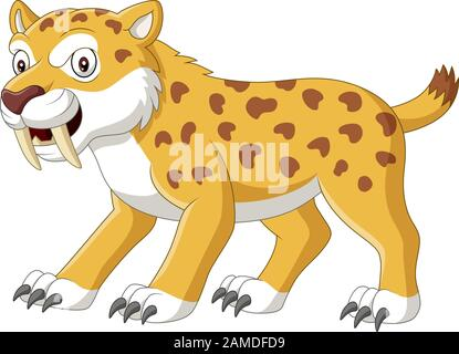 Cartoon angry sabre tooth tiger - Stock Photo