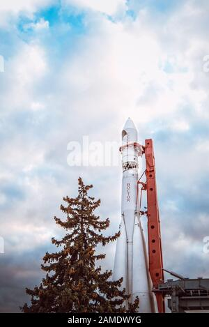The world's first manned space rocket 'Vostok' at an exhibition in Moscow city, Russia 2019-10-05. - Stock Photo