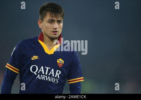 Rome, Italy. 12th Jan, 2020. Rome, Italy - 12 January, 2020: Cengiz Under (AS ROMA) in action during the Italian Serie A soccer match AS Roma vs FC Juventus, at Olympic Stadium in Rome on 12/01/2020 Credit: Independent Photo Agency/Alamy Live News - Stock Photo