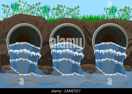 Wastewater. Sewage flow. Water pollution from industrial metal pipes, ecological disaster, dirty toxic effluents. Nature pollution. Ecology. Vector - Stock Photo