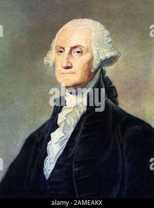 Vintage portrait of George Washington (1732 - 1799) – Commander of the Continental Army in the American Revolutionary War / War of Independence (1775 – 1783) and the first US President (1789 - 1797). Print circa 1813 by Freeman of Philadelphia. - Stock Photo