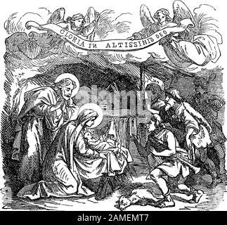 Vintage drawing or engraving of biblical story of shepherds visiting newborn Jesus, virgin Mary and Joseph in Bethlehem.Bible, New Testament,Luke 2. Biblische Geschichte , Germany 1859. - Stock Photo
