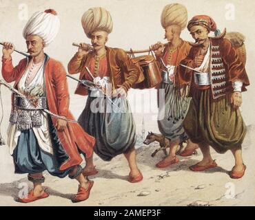 The history of Ottoman Empire. Distribution of soup (to the guard). Bach-Karakoulouktchou (Chef-in-chief - Officer). Karakoulouktchou (Marmitons). Ort - Stock Photo