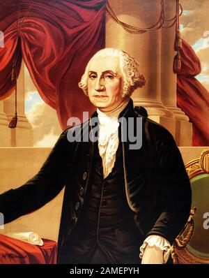 Vintage portrait of George Washington (1732 - 1799) – Commander of the Continental Army in the American Revolutionary War / War of Independence (1775 – 1783) and the first US President (1789 - 1797). Chromolithograph print circa 1876 by Augustus Weidenbach, after a painting by artist Gilbert Stuart (1755 – 1828). - Stock Photo