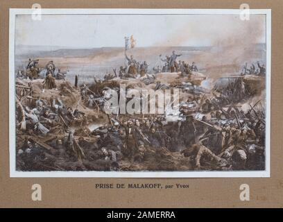 Assault by the French Army on 8 September 1855, resulting in the French capture of the Malakoff fort. Crimean War. - Stock Photo