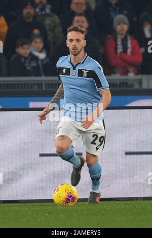 ROMA,ITALY JANUARY 11 2019 Manuel Lazzari of Lazio  action during the match Serie A TIM between SS Lazio Vs SSC Napoli at Stadio Olimpico in Rome on January 11 2019 (Photo by Marco Iorio) - Stock Photo