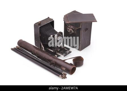 German old camera. The early of the 20th century. Path on white background. - Stock Photo